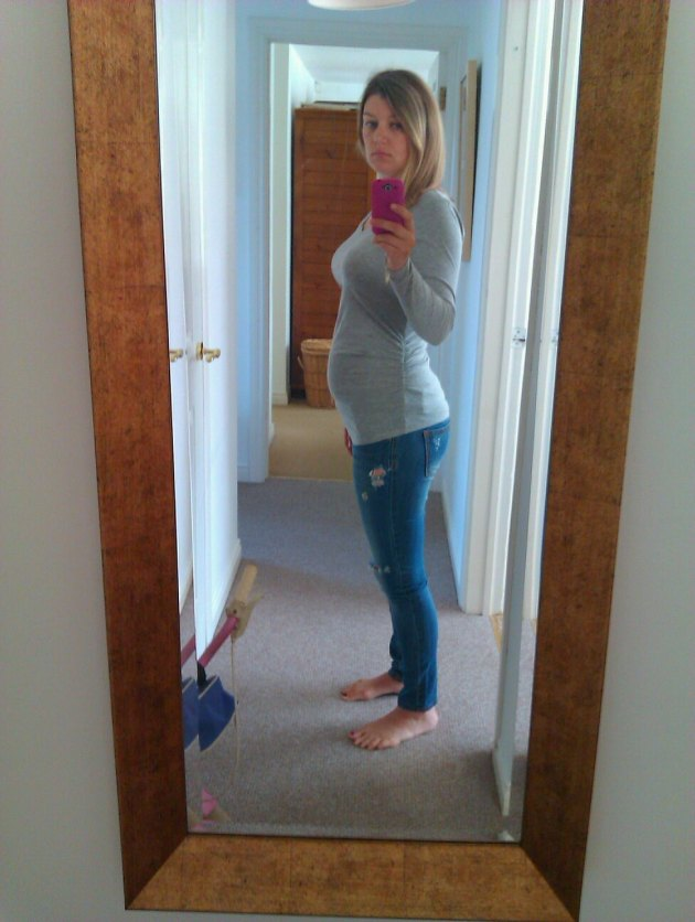 Bump at 20 weeks. I was wearing a maternity top from New Look and my pre-pregnancy jeans
