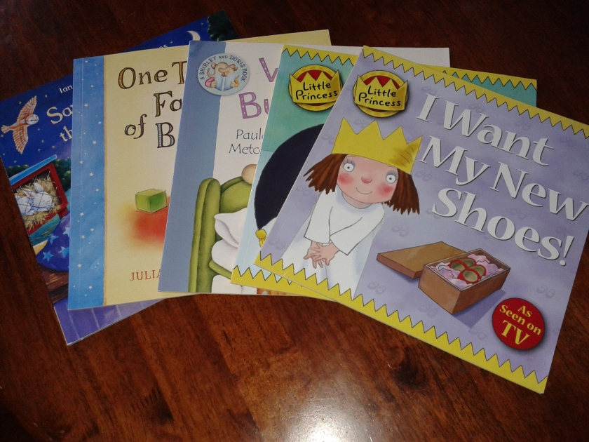 We consistently encourage Emma to donate the books she no longer needs to people who would appreciate them. These ones are going to her playgroup today.